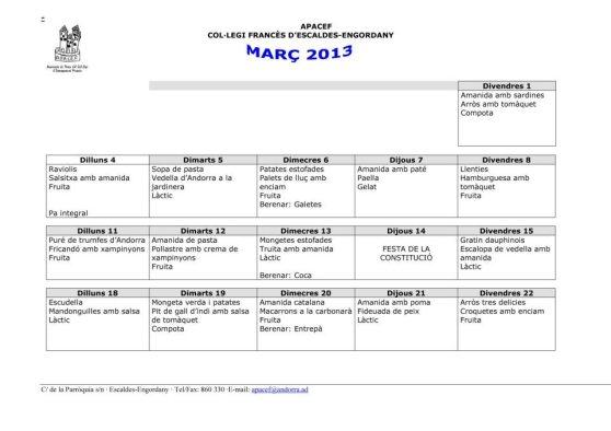 Menú Març 2013